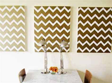 100 creative diy wall art ideas to decorate your space 18 goldchevron