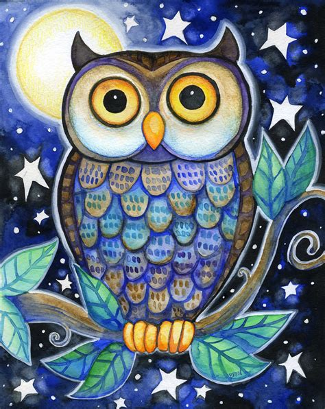 what color are owls owl 8x10 colorful owl moon print