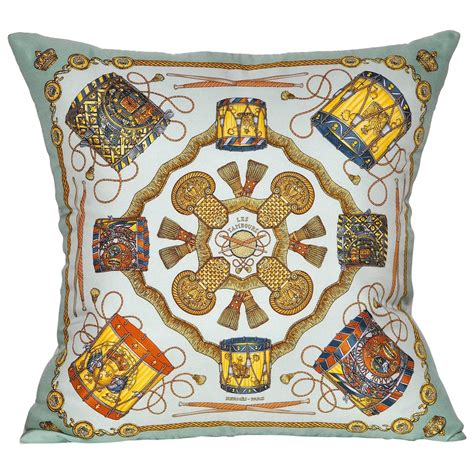 Hermes Pillows For Sale by Vintage Hermes Turquoise Silk Scarf And Linen