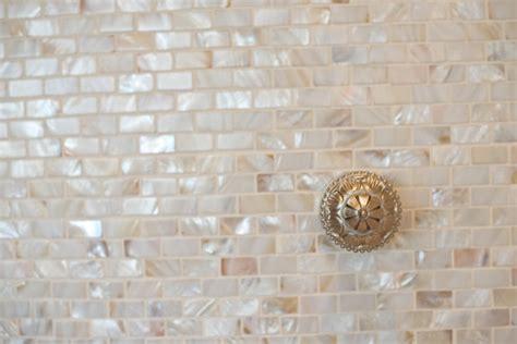 of pearl tile backsplash