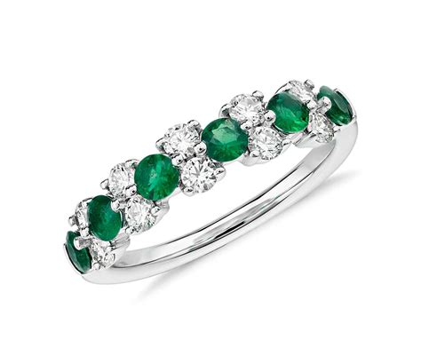 Emerald Ring by Emerald And Garland Ring In 18k White Gold 1 2 Ct