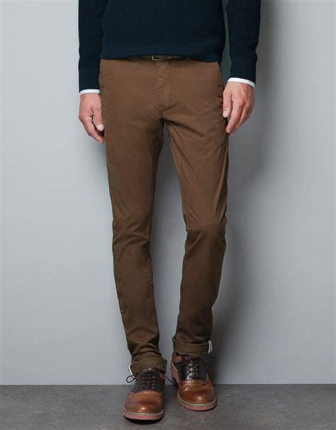 Hermes Zara Chinos zara chinos with belt in brown for lyst