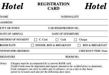 registration card template hotel documentation