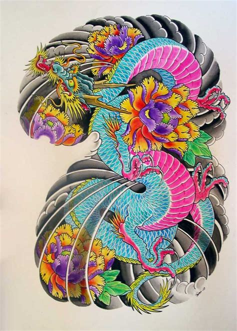 pink dragon tattoo designs japanese drawing at getdrawings free