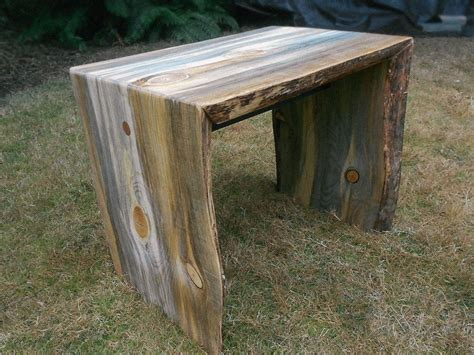 Custom Pine Double Waterfall Side Table by Wood Shed