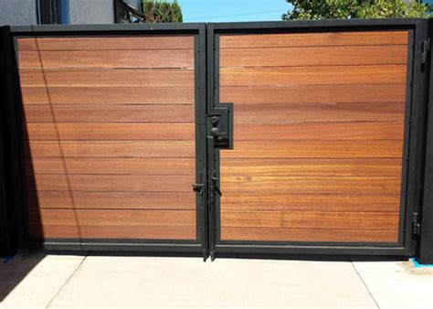 wood and metal fence metal driveway gate white horizontal slats search