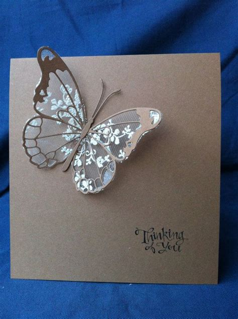 Handmade Butterfly Cards - cotton lace butterfly cards handmade ivory chic wedding