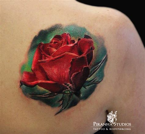 realistic red rose tattoo picture of realistic on a shoulder