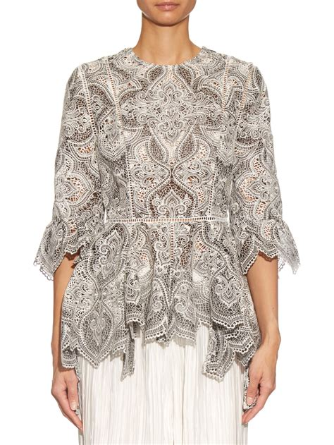 Embroidery Sabrina Blouse 5 lyst zimmermann empire embroidered blouse in white