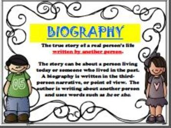 meaning of biography and autobiography biography autobiography posters anchor charts spanish