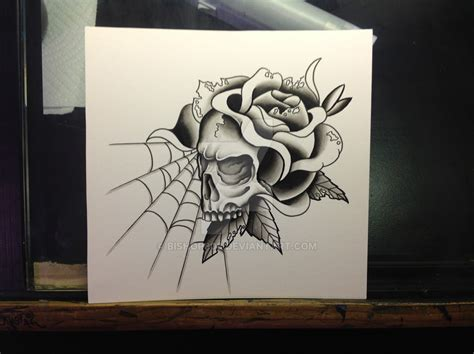 rose and spider web tattoo with spider web and skull design