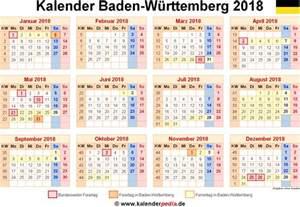 Kalender 2018 Schulferien Bw Kalender 2018 Baden W 252 Rttemberg Ferien Feiertage Pdf