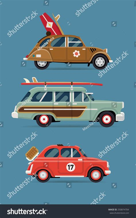 vintage surf car vector flat design private transport icons stock vector