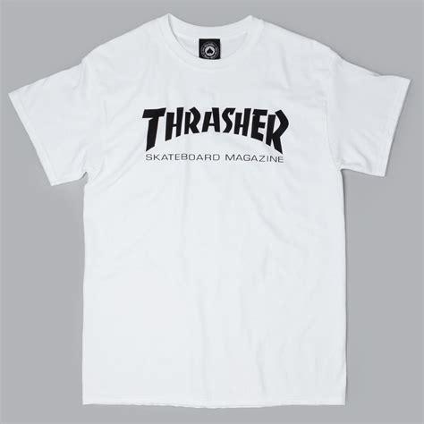 Tshirt Thrasher White thrasher logo t shirt white black at skate pharm