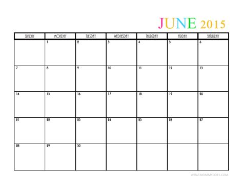 June 2015 Calendar 2015 Monthly Calendar Templates