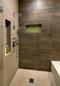 Wood plank tile bathroom beach with built in shower bench floor