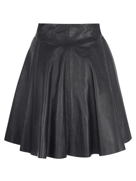 pipri leather skater skirt in black