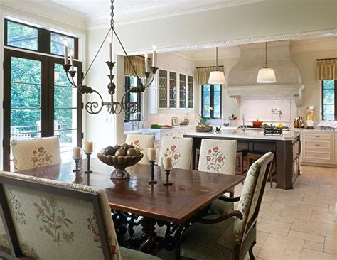 french country kitchen stone floor leaded glass cabinets