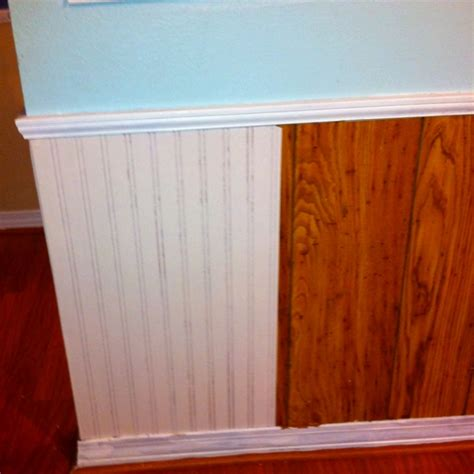 Faux Wainscoting Ideas - paintable wallpaper over ugly paneling products i love pinterest