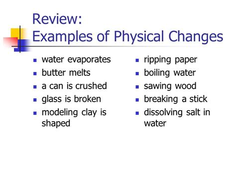 exle of physical change types of changes physical change ppt