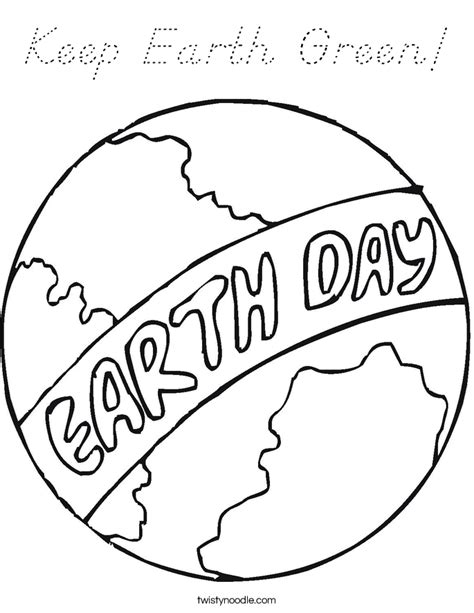 keep earth green coloring page d nealian twisty noodle