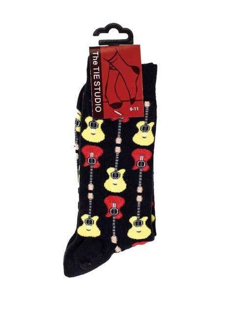 guitar pattern socks the tie studio acoustic guitar socks black size 6 11