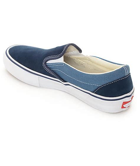 Geizara Two Tone Classic Slip On vans classic slip on pro navy blue 2 tone skate shoes