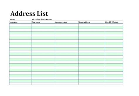 address directory template phone number list personal name address contact template