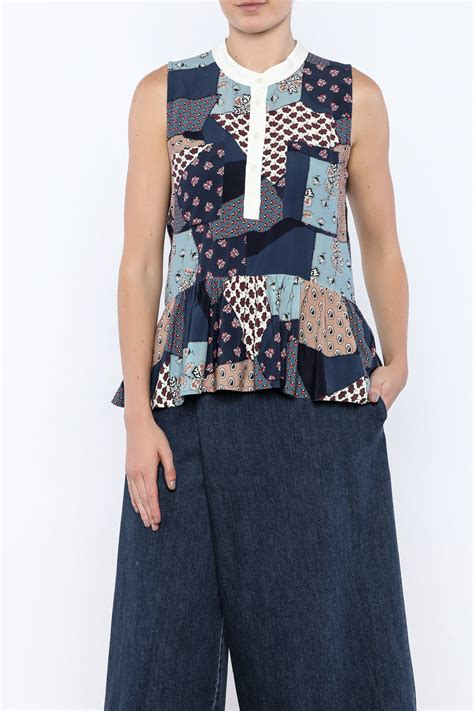 Patchwork Tops - sea patchwork top from florida by rue shoptiques