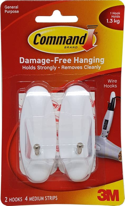 3m command 3 wire hooks w t 4 clear strips blue ace 3m command wire medium hooks 17068anz home office