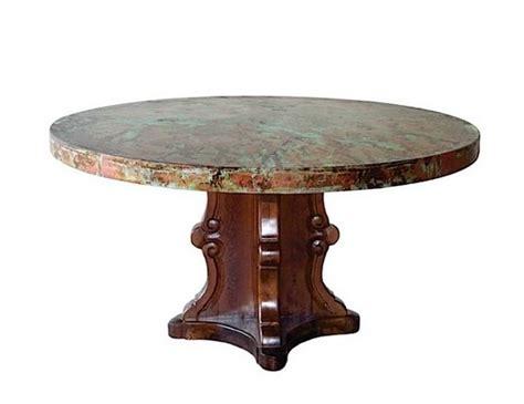 Hammered Copper Dining Table Designer Carved Turquoise Base Hammered Copper Top Dining Table