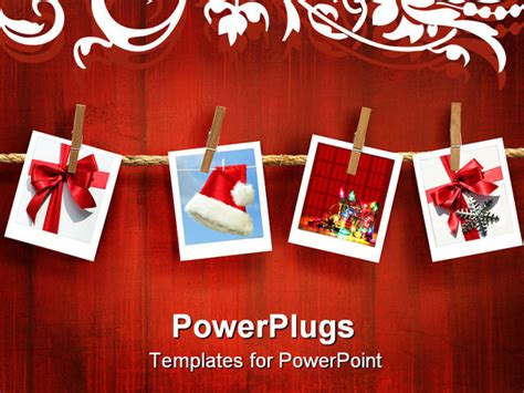 powerpoint templates free photo album photos frames on rustic red wood background powerpoint
