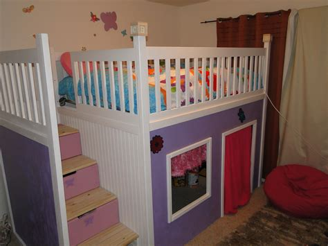 playhouse loft bed ana white custom playhouse bunkbed diy projects