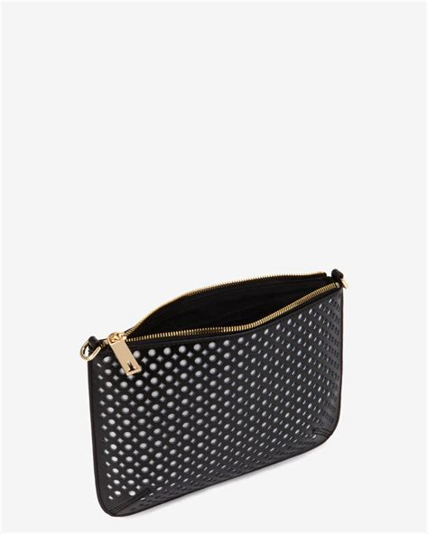 ted baker perforated leather clutch bag in black lyst