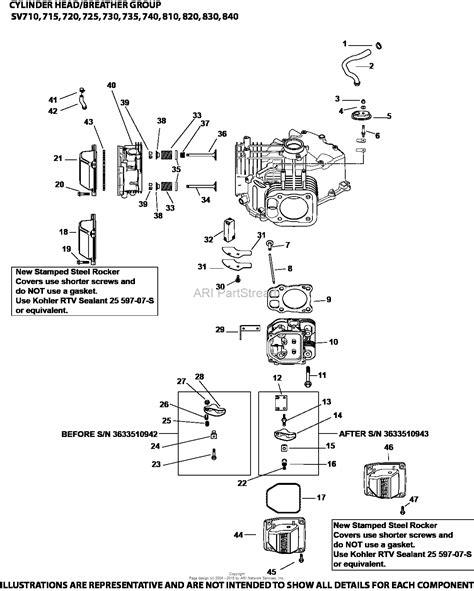 kohler sv710 3037 kubota 20 hp 14 9 kw parts diagram for
