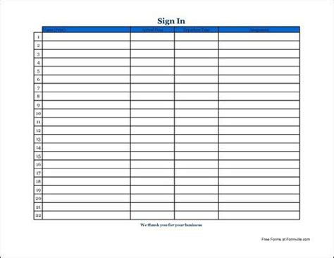 Sign In Sheet Template Docs by Sign In Sheet Templates Free Premium
