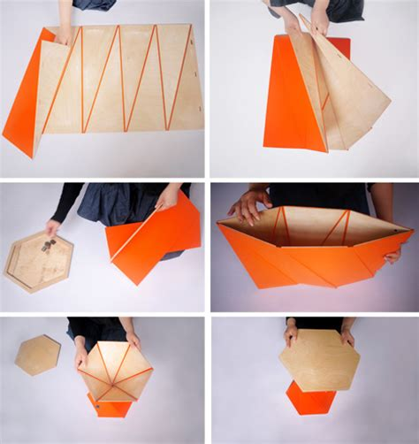 Origami For Designers - origami inspired furniture snaps together with magnets