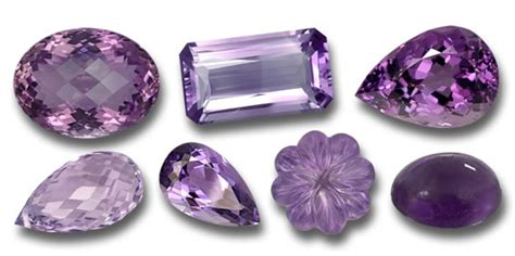 gemstones in purple and violet