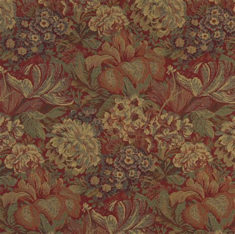 tapestry fabric upholstery beige and burgundy victorian floral garden tapestry