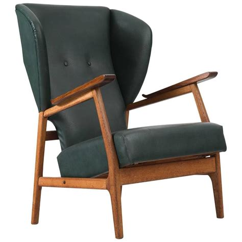 Wingback Chair Upholstery by Scandinavian Wingback Chair In Teak And Green