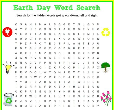 Earth Search 20 Earth Day Word Searches Baby