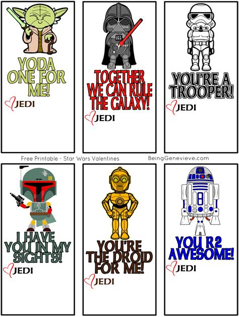 printable pictures star wars free printable star wars valentines being genevieve