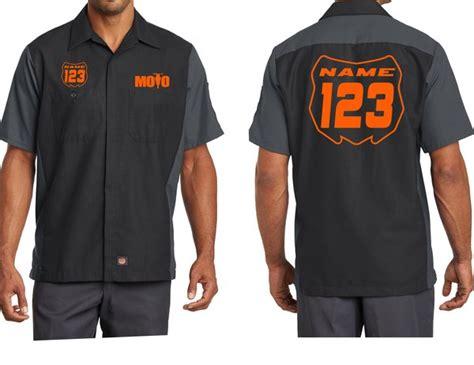 Custom Garage Work Shirts by Moto Mechanic Work Shirts With Custom Name Number