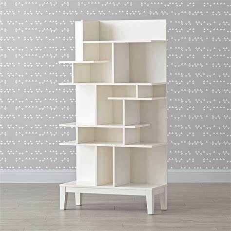 land of nod bookcase white modern geometric bookcase the land of nod