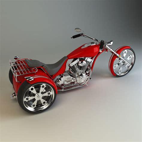 Kaos Bigsize Harley 123 custom trike chopper 3d model
