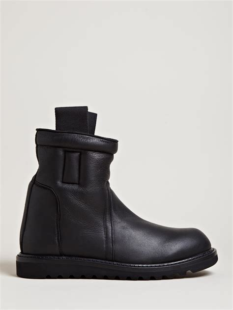 lined boots mens rick owens mens shearling lined boots in black for lyst