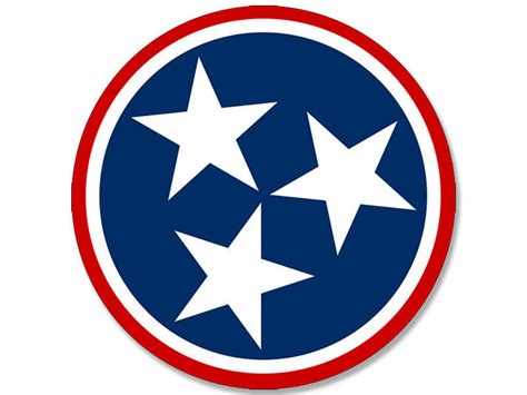 4x4 inch round tennessee 3 stars sticker decal tn