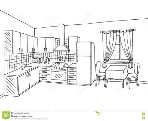 Kitchen Room Interior Black White Graphic Art Sketch Illustration Stock Vector Image 76002605 Vector Image Black White Sketch