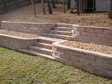 Retaining Wall Stairs Design Tiered Yard Landscaping Retaining Wall With Steps Fredericksburg Virginia Stafford