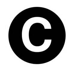 white letter c centered inside black circle clip at